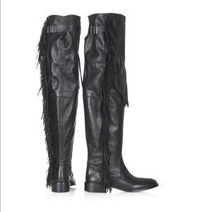 Nib Topshop over knee fringe boots black 6.5